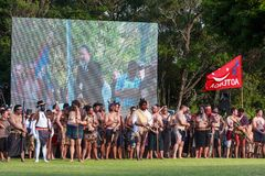 Maori warriors at the 150th anniversary commemoration of the battle of Gate Pa stock image