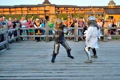 Battle girls. International Championship on the historical medieval battle Call of heroes. It passes near Kiev, in the village of Kopachev, Ukraine, 19-20 Stock Photos
