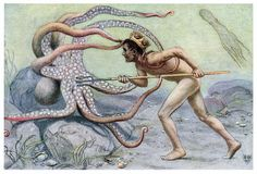 Battle with the Great Octopus Stock Photography