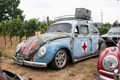 Volkswagen car with the red cross on it royalty free stock photos