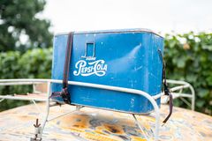 Retro pepsi cola box on top of the car royalty free stock photo