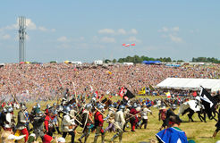 Battle of Grunwald. Overall view of historical reenactment 1410 Battle of Grunwald, Kingdom of Poland and the Grand Duchy of Lithuania against the Teutonic Order Stock Image