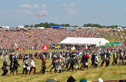 Battle of Grunwald. Overall view of historical reenactment 1410 Battle of Grunwald, Kingdom of Poland and the Grand Duchy of Lithuania against the Teutonic Order Stock Photo