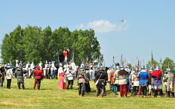 Battle of Grunwald. Overall view of historical reenactment 1410 Battle of Grunwald, Kingdom of Poland and the Grand Duchy of Lithuania against the Teutonic Order Royalty Free Stock Image