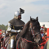 Battle of Grunwald. Participant of historical reenactment 1410 Battle of Grunwald, Kingdom of Poland and the Grand Duchy of Lithuania against the Teutonic Order Stock Photos