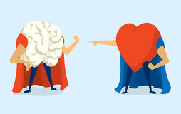 Battle between heart and brain super heros Royalty Free Stock Images