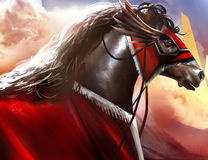 Battle horse art. Fantasy battle horse with red hood profile and hills nature background art illustration Royalty Free Stock Photography