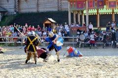 Battle. International Championship on the historical medieval battle Call of heroes. It passes near Kiev, in the village of Kopachev, Ukraine, 19-20 September Royalty Free Stock Image
