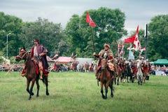 Battle of Klushino 1610 - Poland 2010. WARSAW - July 04: Polish Winged Hussars defeat Russians - Battle of Klushino (KLUSZYN) 1610 - reenactment - July 04, 2010 Royalty Free Stock Photo