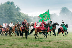 Battle of Klushino 1610 reenactment. WARSAW - July 04: Polish Winged Hussars defeat Russians - Battle of Klushino (KLUSZYN) 1610 - reenactment - July 04, 2010 in Stock Photos