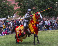 Battle of Knights. At the time of the fair of Saint John in Krakow , Poland .Every year, on the Vistula River next to the Wawel Castle is fair on the occasion Royalty Free Stock Photography