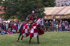 Battle of Knights. At the time of the fair of Saint John in Krakow , Poland .Every year, on the Vistula River next to the Wawel Castle is fair on the occasion Royalty Free Stock Images