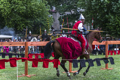 Battle of Knights. At the time of the fair of Saint John in Krakow , Poland .Every year, on the Vistula River next to the Wawel Castle is fair on the occasion Stock Photography