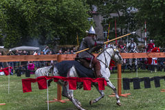 Battle of Knights. At the time of the fair of Saint John in Krakow , Poland .Every year, on the Vistula River next to the Wawel Castle is fair on the occasion Royalty Free Stock Photos