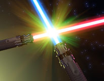Battle with light sabers Stock Image