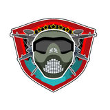 Battle logo. Paintball Helmet and weapons. Military emblem. Army Royalty Free Stock Photo