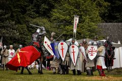 Battle of medieval knights Stock Images