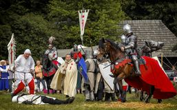 Battle of medieval knights Stock Photo