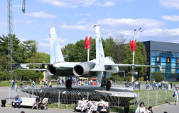 Battle military Combat aircraft Russian fighter Su-27 in Moscow Royalty Free Stock Image