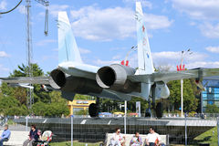 Battle military Combat aircraft Russian fighter Su-27 in Moscow Royalty Free Stock Photos
