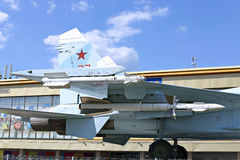 Battle military Combat aircraft Russian fighter Su-27 in Moscow Stock Photography