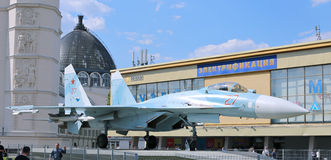 Battle military Combat aircraft Russian fighter Su-27 in Moscow Royalty Free Stock Images