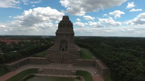 Battle of nations monument in Leipzig, Germany. Aerial view stock video