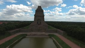 Battle of nations monument in Leipzig, Germany. Aerial view stock video footage