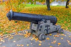 Battle naval cannon - ancient artillery gun in Kronstadt. Autumn view to battle naval cannon - ancient artillery gun on Kronstadt promenade. Kotlin island, Saint Stock Photo