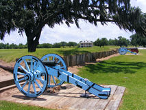 Battle of New Orleans Battlefield with Cannons and Plantation Home. National Battlefield in Chalmette, Louisiana showing Cannons and Plantation Home and Oak Tree Stock Photography