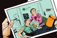 Battle in office.  Stock illustration. Stock illustration. People in retro style pop art and vintage advertising. Battle in office. The girl helps a wounded Royalty Free Stock Images