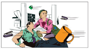 Battle in office.  Stock illustration. Stock illustration. People in retro style pop art and vintage advertising. Battle in office. The girl helps a wounded Stock Photo