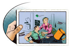 Battle in office. Stock illustration. Stock illustration. People in retro style pop art and vintage advertising. Battle in office. The girl helps a wounded Royalty Free Stock Photo