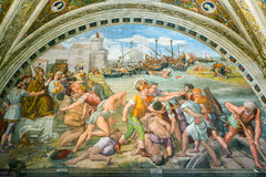 Battle of Ostia. The fresco of the 16th century in the Vatican M Stock Images
