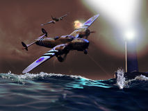 Battle over the ocean. Over the ocean, a german second world war plane attacking a british  plane arriving to the coast, under the lights of a lighthouse Royalty Free Stock Photography