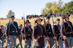 Battle of Perryville preperation. Perryville, Kentucky - October 8, 2016: Actors prepare for a Civil War battle reenactment in Perryville, Kentucky, on October 8 Royalty Free Stock Photo