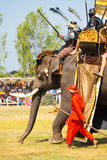 Battle Reenactment Siamese Burmese Elephant King Royalty Free Stock Images