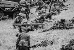 Battle remake with armed soldiers black and white Stock Images