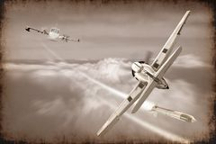 Battle of retro war plane launch missile in the sky. Abstract of retro war plane launch missile in the sky in sepia color style Royalty Free Stock Photo