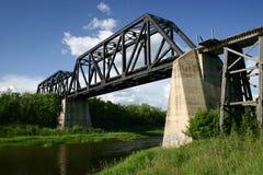 Battle River Train Bridge. The old Battle River train bridge south of Battleford, Saskatchewan royalty free stock image