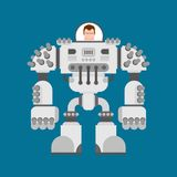 Battle robot Exoskeleton. Cyborg warrior future. Vector illustration royalty free illustration