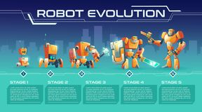Battle robot game process upgrades vector guide royalty free illustration
