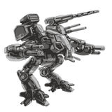 Battle robot. Science fiction. Vector illustration. Royalty Free Stock Photography