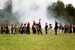 Battle Russian and French armies in 1812. MOSCOW REGION, RUSSIA - SEPTEMBER 05: Reenactment of the Borodino battle between Russian and French armies in 1812 Royalty Free Stock Photography