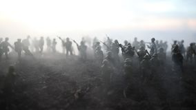 Battle scene. Military silhouettes fighting scene on war fog sky background. World War Soldiers Silhouettes Below Cloudy Skyline stock footage