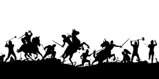Battle scene silhouette. Vector silhouette illustration of a medieval battle scene with cavalry and infantry with figures as separate objects Royalty Free Stock Photography