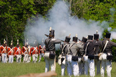 Battle scene during a War of 1812 re-enactment Stock Photos