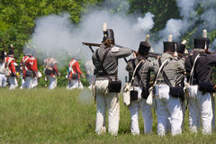 Battle scene during a War of 1812 re-enactment Royalty Free Stock Photography