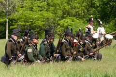 Battle scene during a War of 1812 re-enactment Stock Images