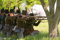 Battle scene during a War of 1812 re-enactment Royalty Free Stock Images